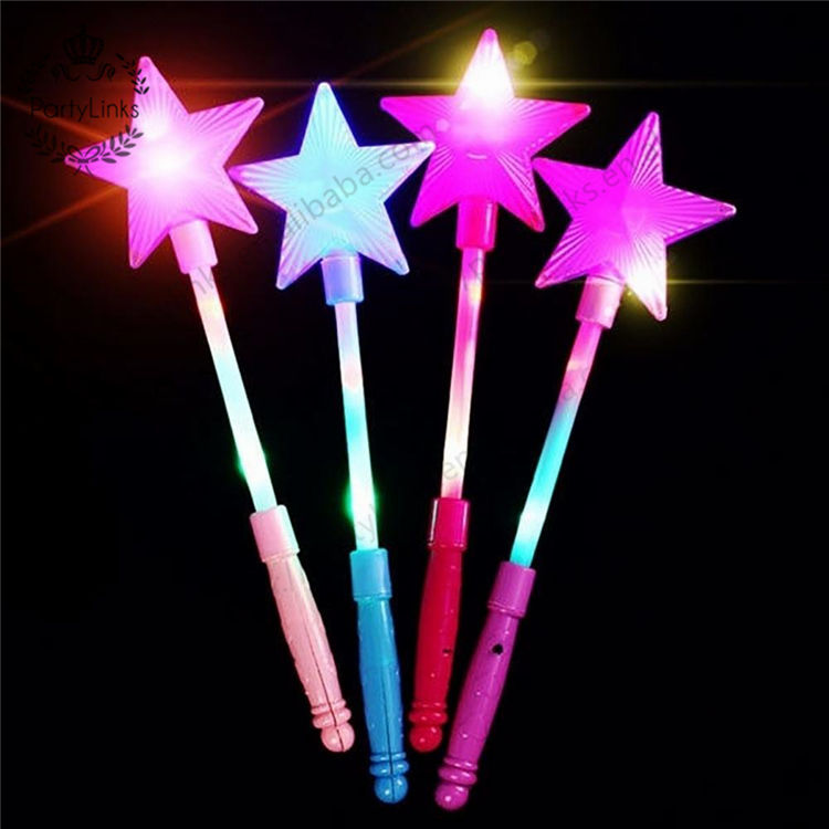 Plastic LED Flashing Glow Stick Wand Five pointed Star Fairy Wand Kids Toy Star flashing sticks light up toys for kids