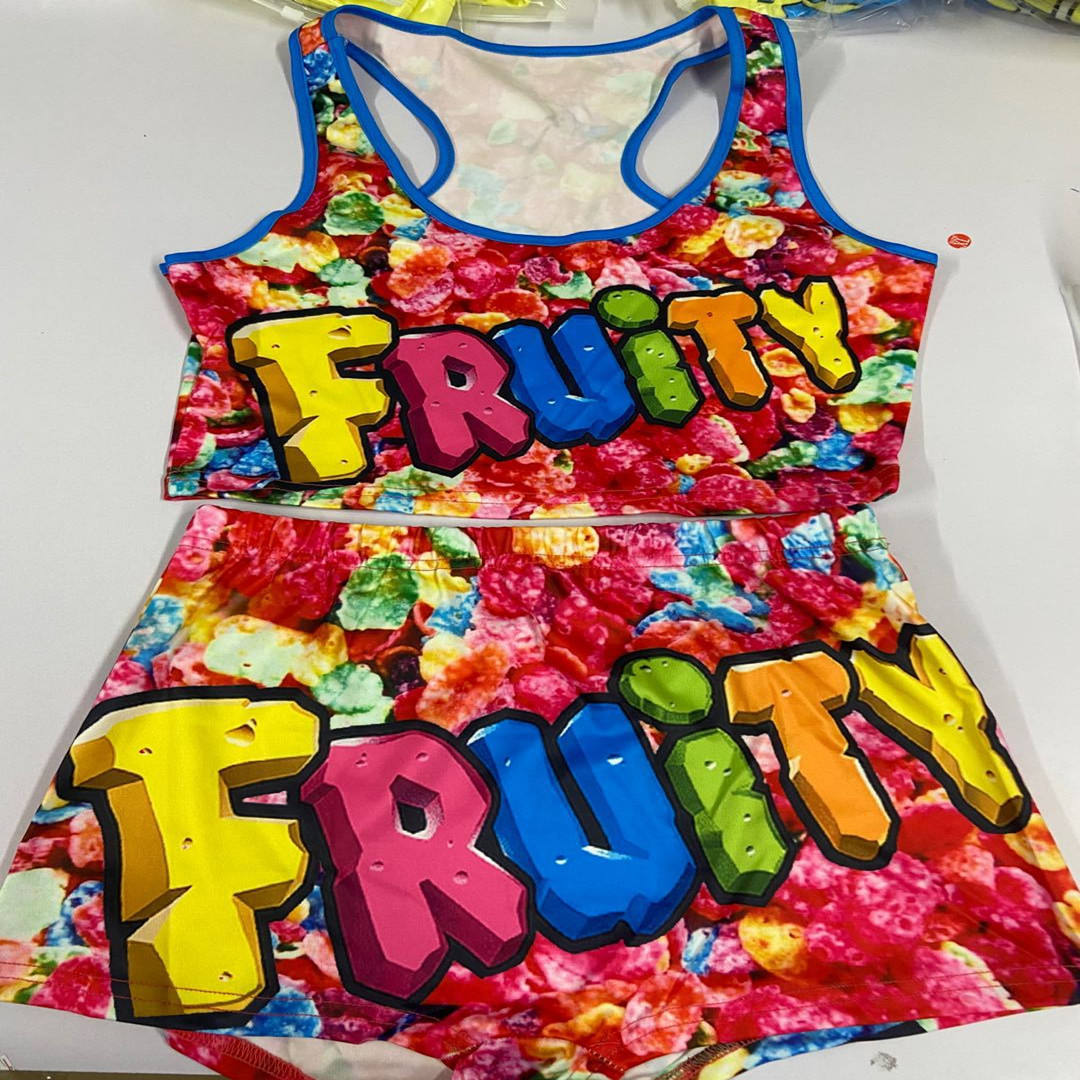 Sinosun Funny Women Snack Shorts Sets Yoga Gym Sports Candy Gusher Fruity Two Piece Snack Shorts with Tops