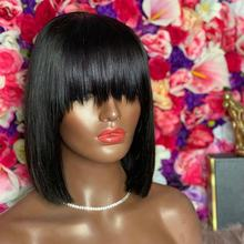 SHY Luxe Wig 10Inch Lace Front Wig Bob With Bang Virgin Human Hair Wigs For Black Woman With Baby Hair