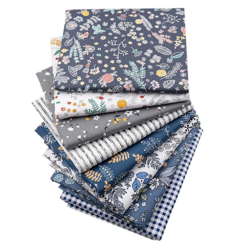 8PCS/Set Soft Floral Flower Grid Stripe Printed 100% Cotton Bundle Quilt Twill Fabric For Dress Face Mask Bags Doll Cloth