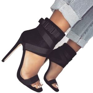 ISEEYOUFIRST Shoes Woman New Arrivals Sexy Ankle Crossed Tied Sandals Stiletto High Heels New Style Shoes Plus Size 43 In Stock