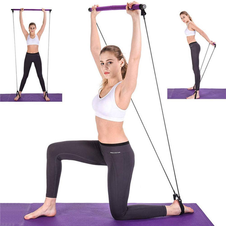 Workout Equipment Yoga Stick Portable Pilates Bar With Resistance Band