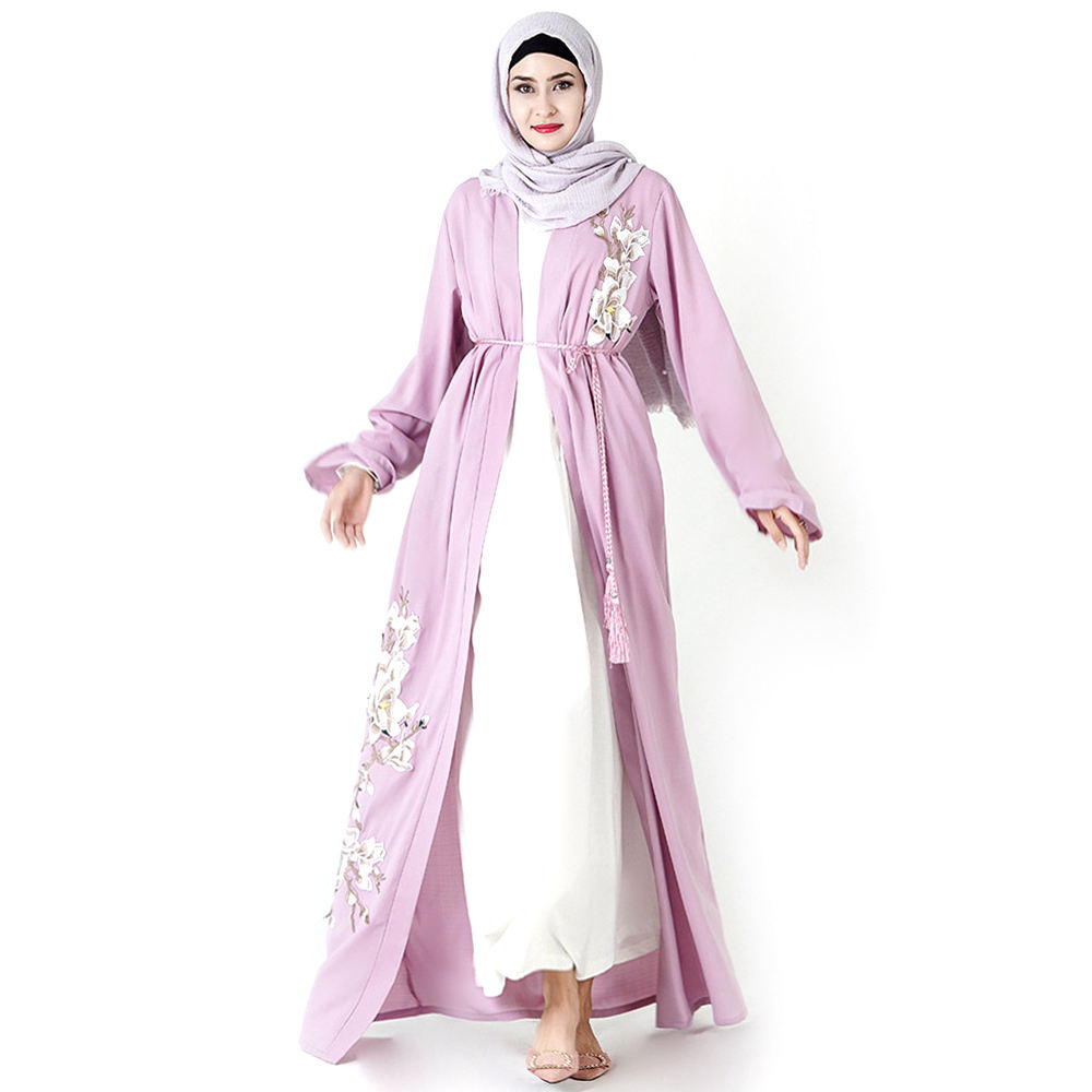 Moslem Hussegken Clothing Embroidered Kaftan Cardigan Islamic Robe Dubai Dress Muslim Women Custom Open Abaya