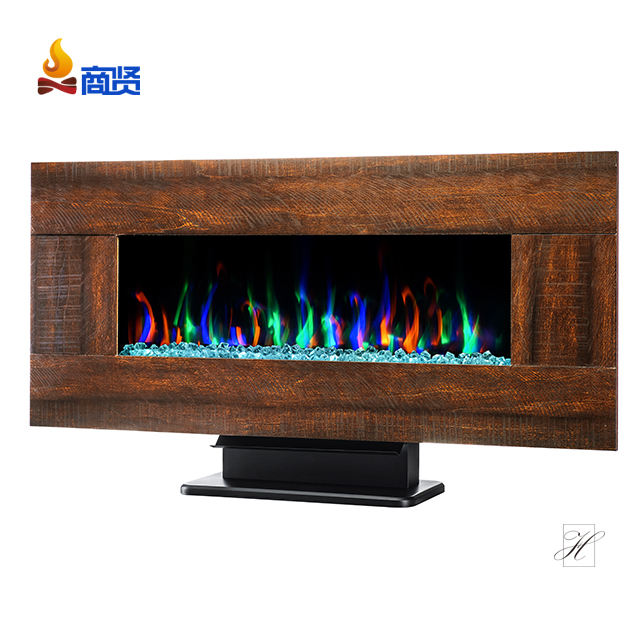 42'' Full recessed/Wall mounted electric fireplace 3-colour log/crystal/pebble,touch panel
