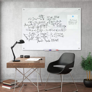 Tempered Frameless Magnetic Whiteboard , Glass white Board with Marker Tray
