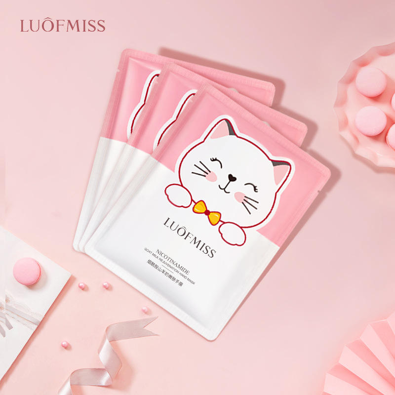 OEM LUOFMISS moisturizing smooth skin care beauty nicotinamide goat milk hand whitening mask