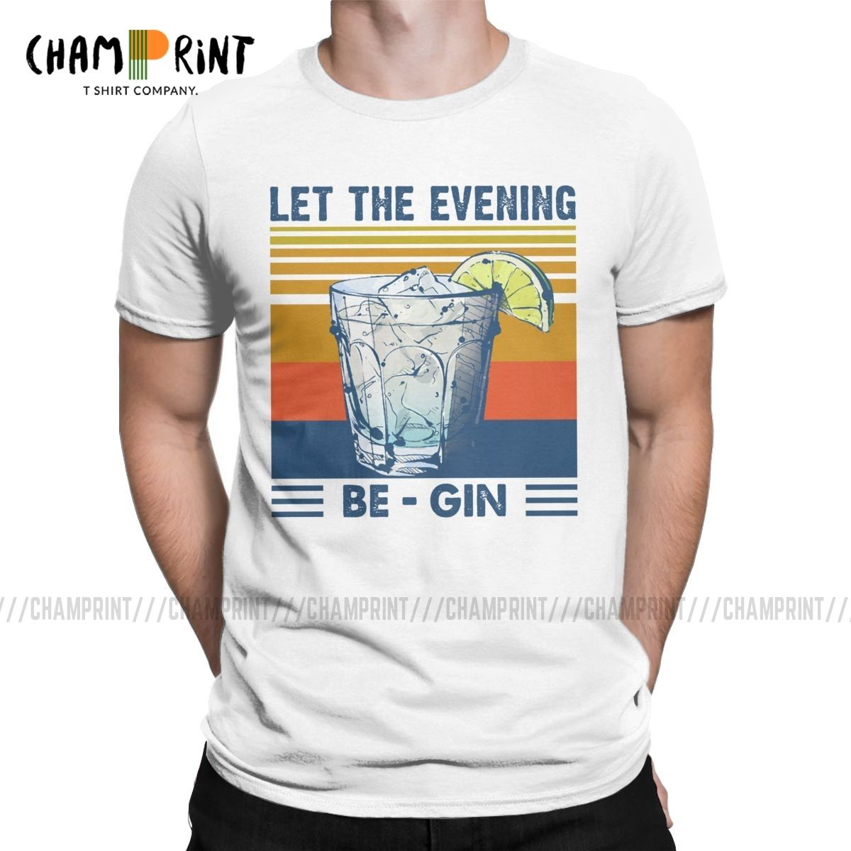 Men T-Shirts Let The Evening Be Gin Martini Cocktail Funny Tees Short Sleeve Vintage Summer Beer T Shirts O Neck Tops Summer