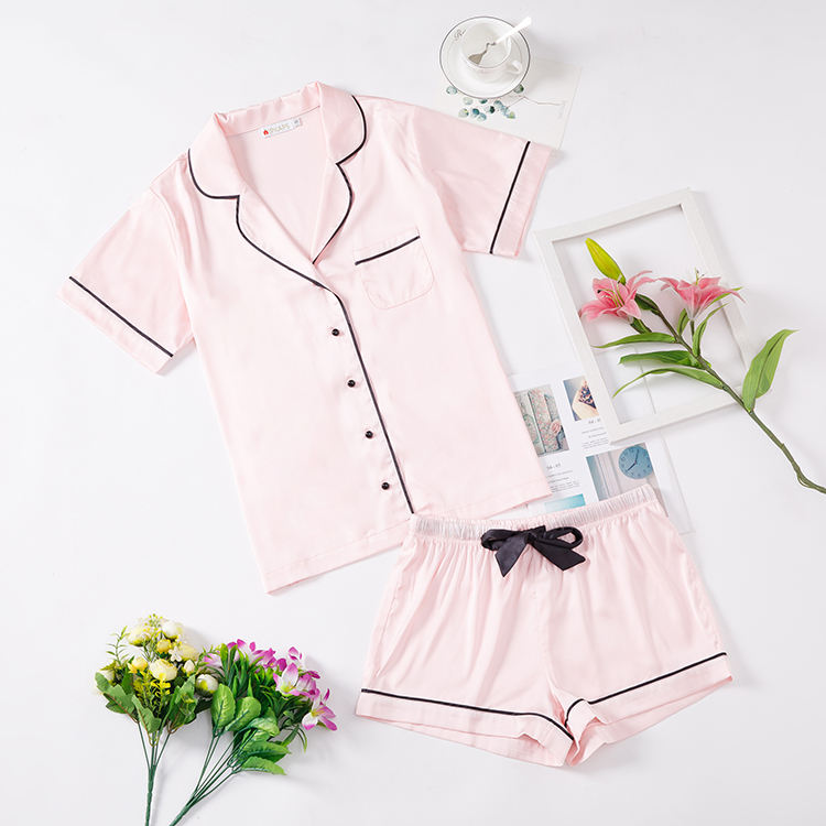 Hot Summer Women Short Pajamas Elastic Waist Lapel Short Pajamas Set