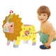 2020 wild animal lion shape diy cardboard doodles painting set toys with light and music