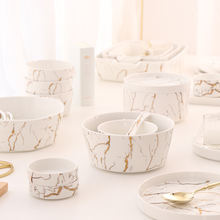 2020 new products european style porcelain gold Dinnerware Set marble dinner set luxury tableware for weddings