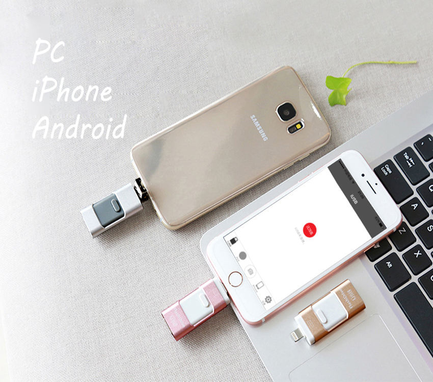 High Speed 64GB 128GB OTG 3 IN 1 OTG USB 3.0 Flash Drive for lightning for iPad Android Mobile Phone