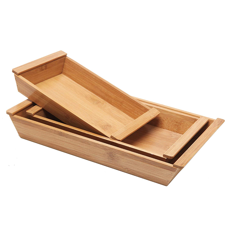 Set of 3 Small Natural Bamboo Nesting Organizer Serving Tray With Handles