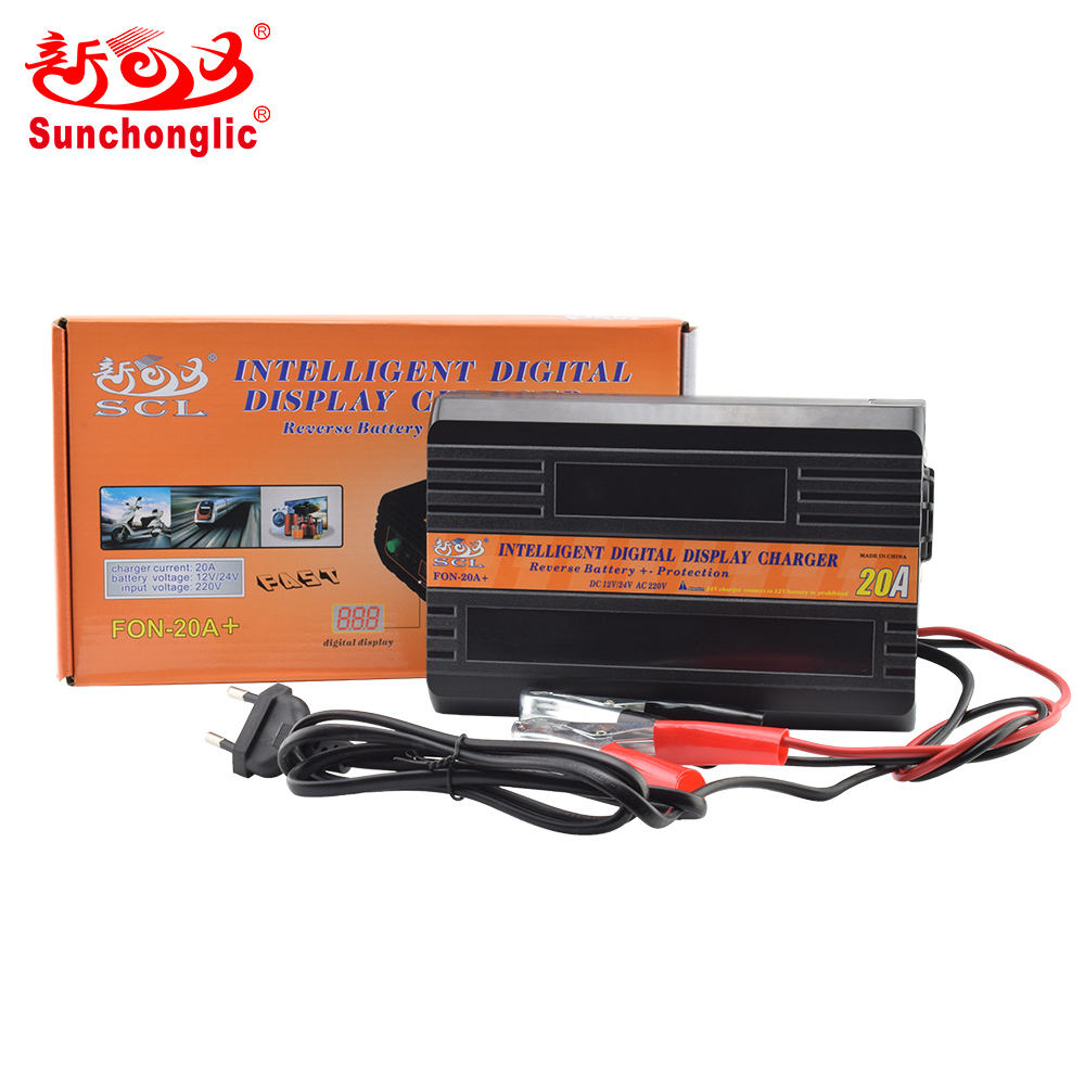 Sunchonglic intelligente digitale display 12V 24V ac dc 10A automatische snelle auto batterij lader voor loodaccu