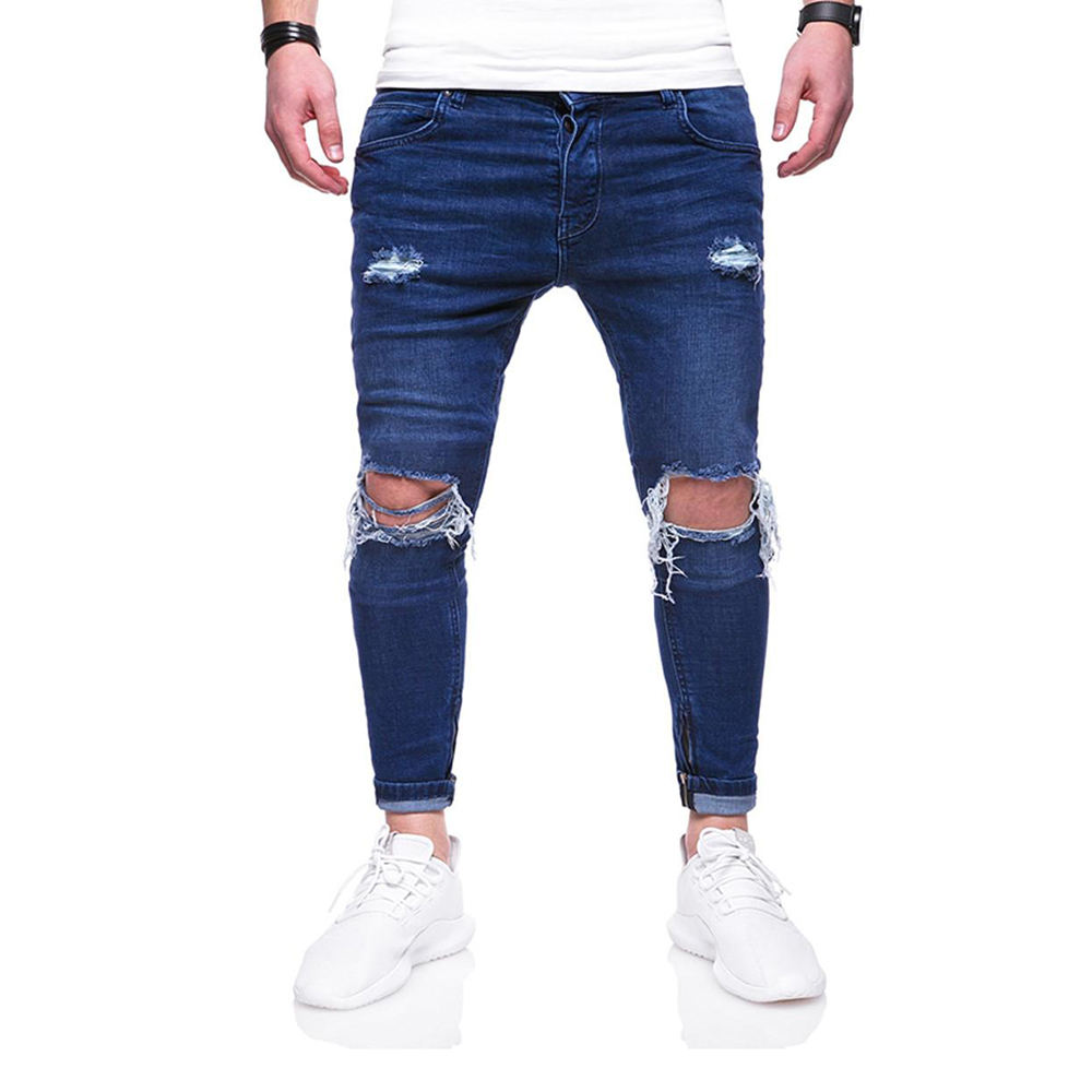 Denim Jeans Pants For Men In Dark Blue Color Ripped Jeans Trousers For Sale