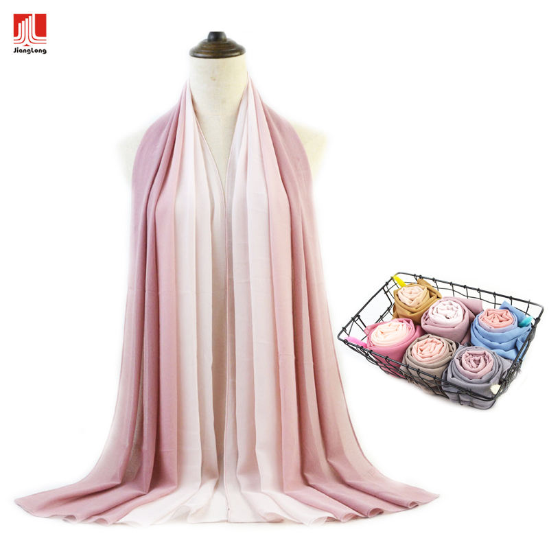 Printed Hijab Hot Selling Ombre Printing Lightweight Soft Wholesale Wrap Muslim Women Scarf Chiffon Hijab