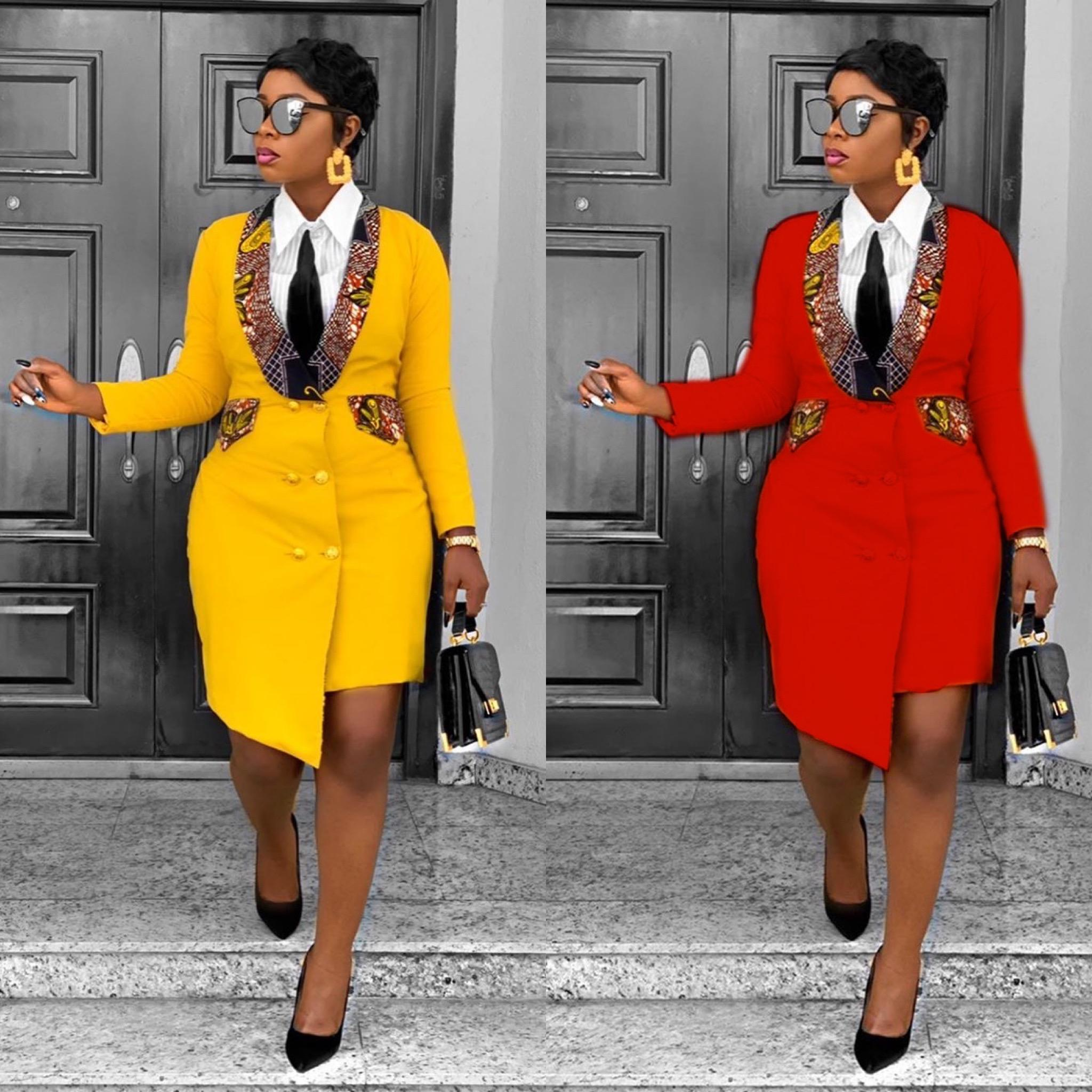 New Design African Lady Women Office Suit Elegant Dress Women Long Blazer Suit Ladies Red Plus Size Irregular Slim Coats