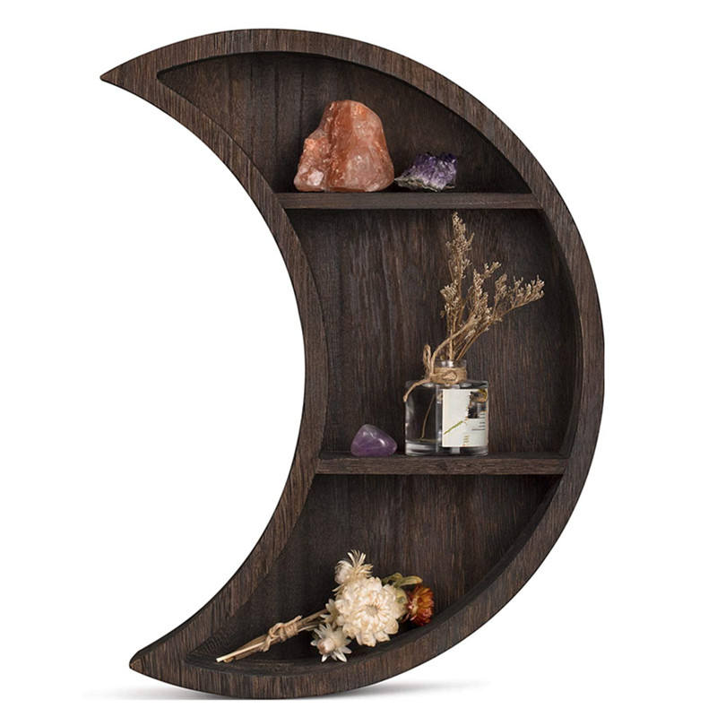 Cheap hanging storage display wood moon shape wall shelves home decor