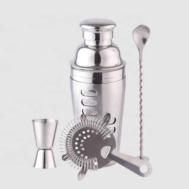 Factory Direct 25oz custom deluxe double wall stainless steel coctelera recipe martini bar tools set wine cocktail shaker