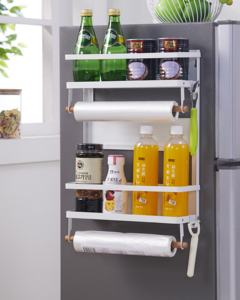 Metal Fridge Side Holder Shelf Magnetic Refrigerator Storage Organizer Tool Hanging Rack