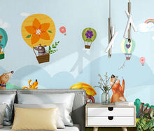 Nordic hand drawn wallpaper sticker cartoon puppy balloon wall mural children's room decoration wallpaper