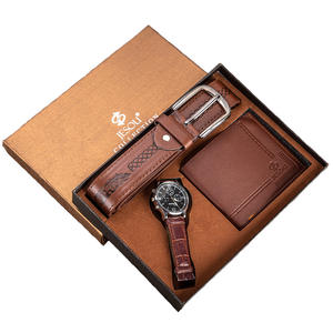 Men's Gift Set Exquisite Packed Watch + Belt Wallet Creative Simple Combination Set-3pcs/set