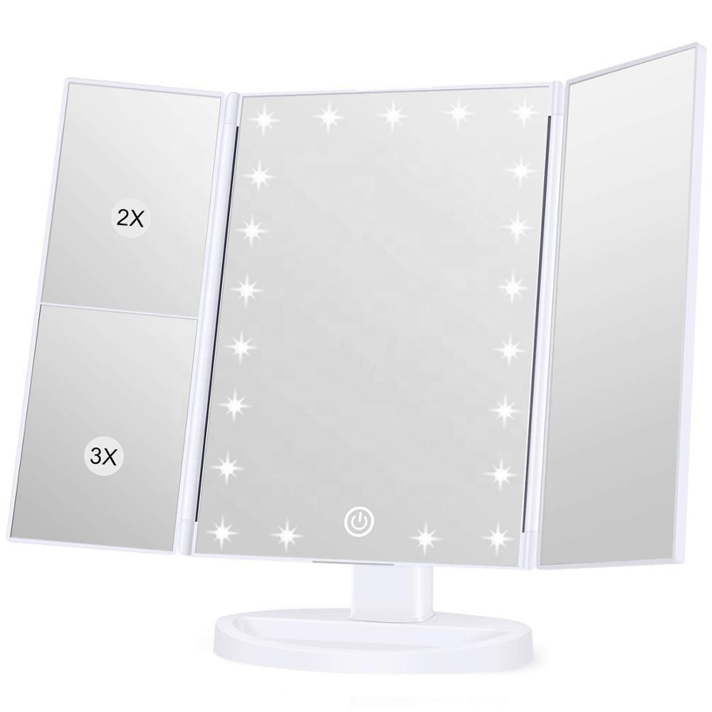 Makeup Vanity Mirror with1X/2X/5X/10X Magnifying Ultra-Thin Stable Base Portable 180 and 90 Rotation
