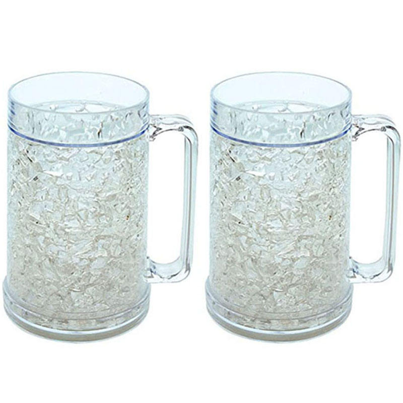 2 Pack Clear Double Wall Gel Frosty Freezer Mugs, 16 unzen Ice Frosty Beer Mugs Freezable Drinking Cups mit Handle