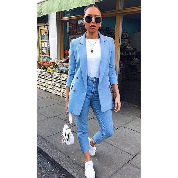 Autumn New Blazers Women Chic Blazer Fashion Office Blazers Lady Suit Coat Outerwear Tops Plus Size S- 5XL Y12468