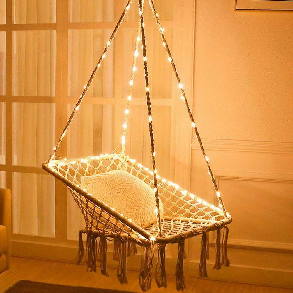 Square Hammock swing Chair with Lights - Square Shape hanging swing for Patio Bedroom Balcony