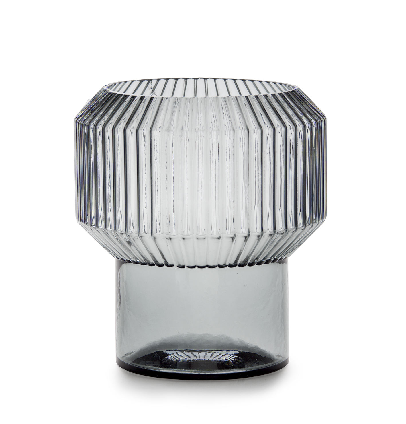 Hurricane Big Ribbed Glass Vase With煙グレーTea Light Holders Table Centerpieces AccentためDining Living Room