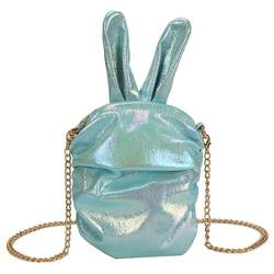 Wholesale holographic rabbit shapes girl casual trendy cross body fashion leather tote cute hand bag