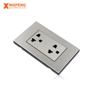 top quality stainless steel plate double 3 pin wall socket