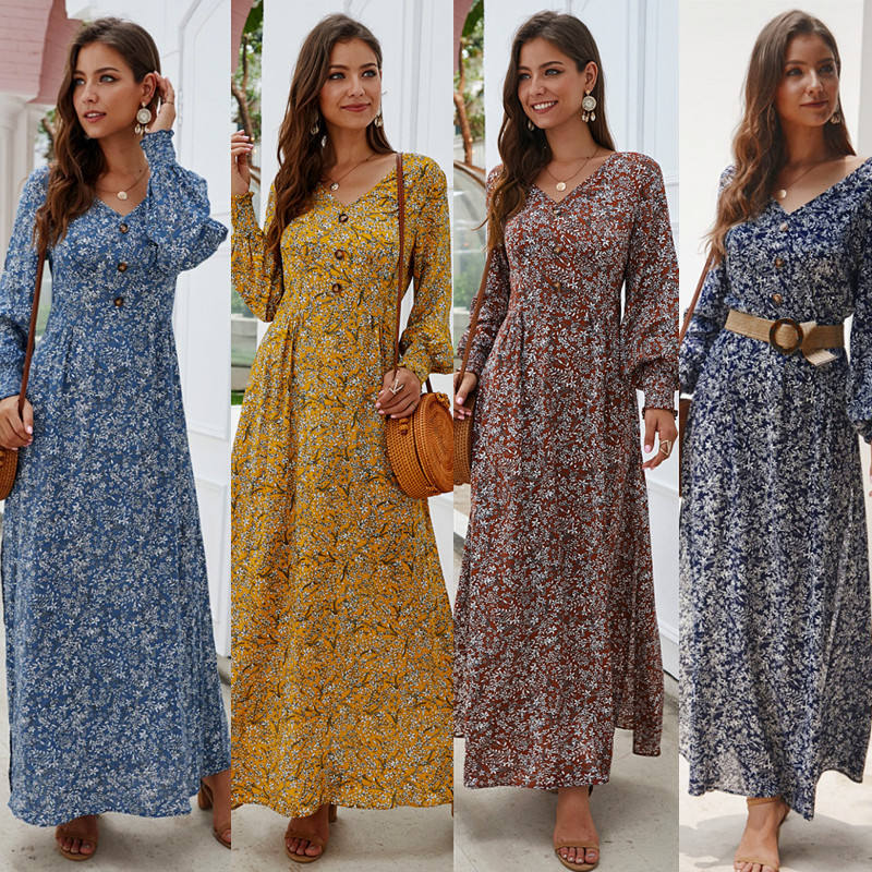 Amazon Explosion WomenのV-Neck Long Sleeve Printed Bohemian Long Dress
