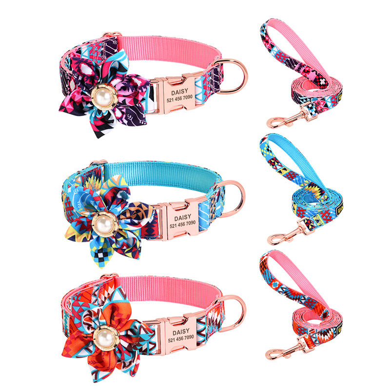 Pearl Flower Fancy Luxury Nylon Pet Rose gold Metal buckle Classic Designer Personalized Collar set Dog collars and leash set