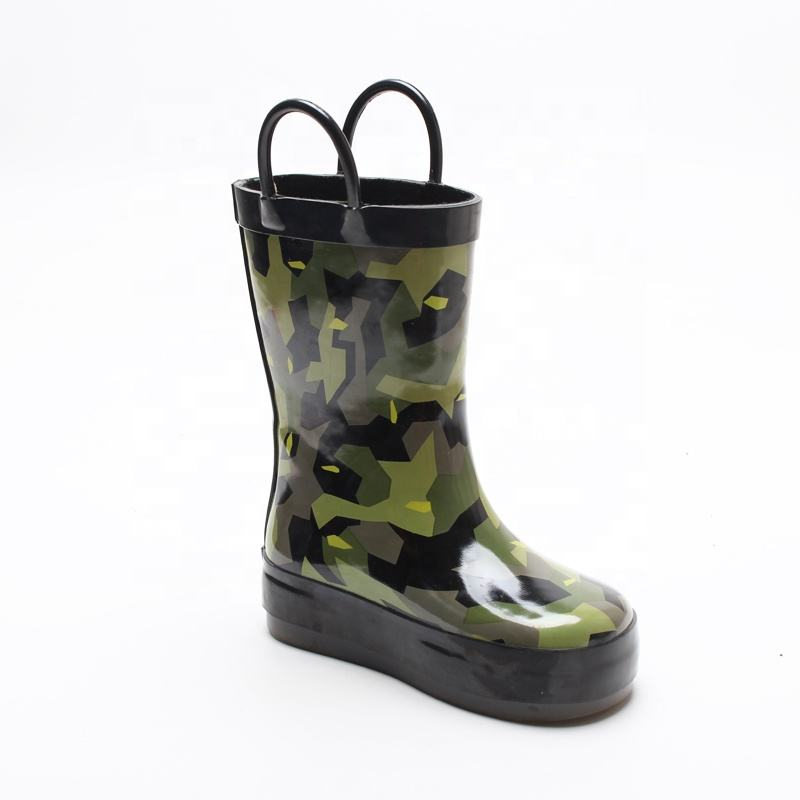 2020 Hot Sales Toddler Eco Friendly Slip On Camo Printed Fashion Children Rubber Rain Boots For Kids Gumboots