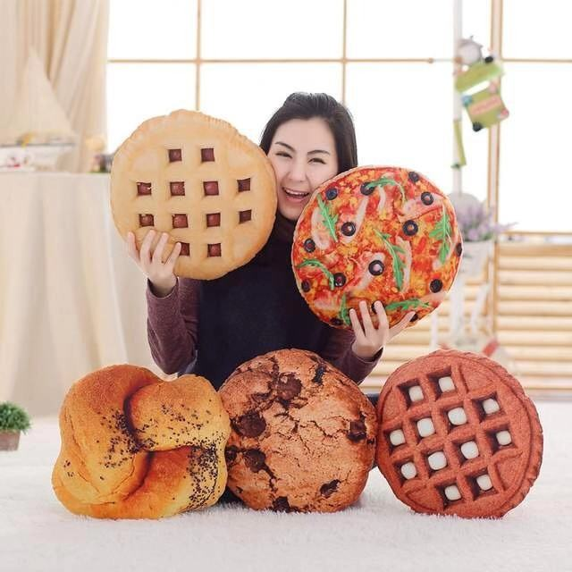 Pizza&Biscuit&Hamburger Plush Pillow Soft Cartoon Fast Food Bread&Hot Dog Stuffed Doll Sofa Chair Cushion Funny