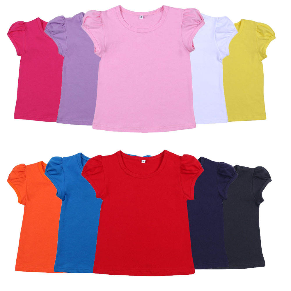 2021 summer boutique stock 100% cotton tee shirts tops sweet teen girls cute bulk blank girl t shirt