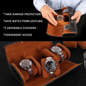 Custom Luxury 3 slot genuine leather Rounded watch storage case