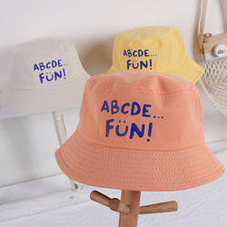 Korea's same small fresh alphabet children's fisherman hat, boys and girls wild travel shade baby basin hat