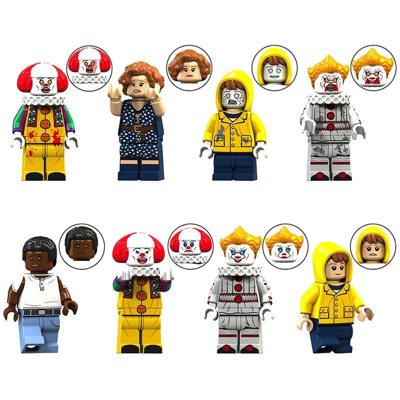 KT1012 Pennywise With Balloom Beverly George Chosen Jacobs Bill Stephen Horror Movie Xmas Gift Action Building Blocks Kids Toys