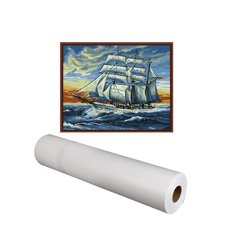 340gsm Waterproof Glossy Poly Cotton White Canvas For Art