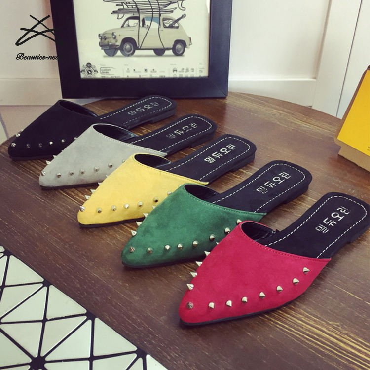Women fashion summer outdoors punk sexy suede revet sharp head flat shoes slide sandal ladies slippers
