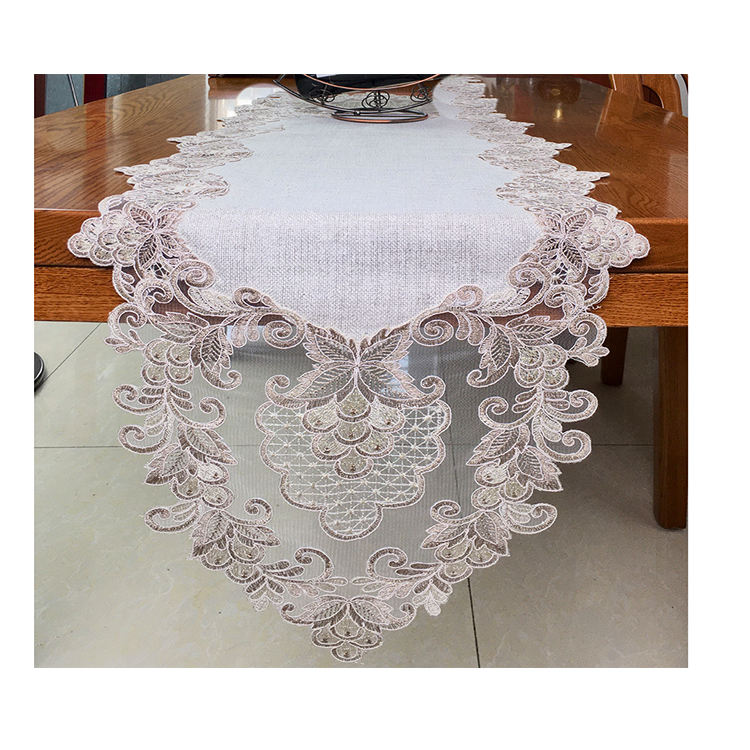 Hot sale dining embroidery organza table runner wedding decoration
