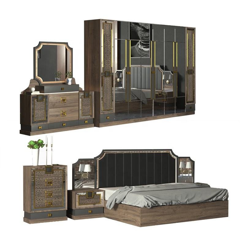 Top Quality Home Bedroom Furniture Double Bed Wood MDF Modern Bedroom Sets