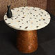 Concrete Dining or Bar Table, 42 inch Round Top, Ash Finish with Sustainable Acacia Wood Base - Meeting Table