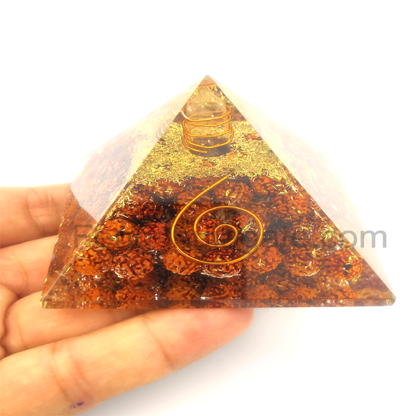Wholesale of Hot Orgone Pyramid Orgonite With Rudraksha Beads by Fenshui Agate
