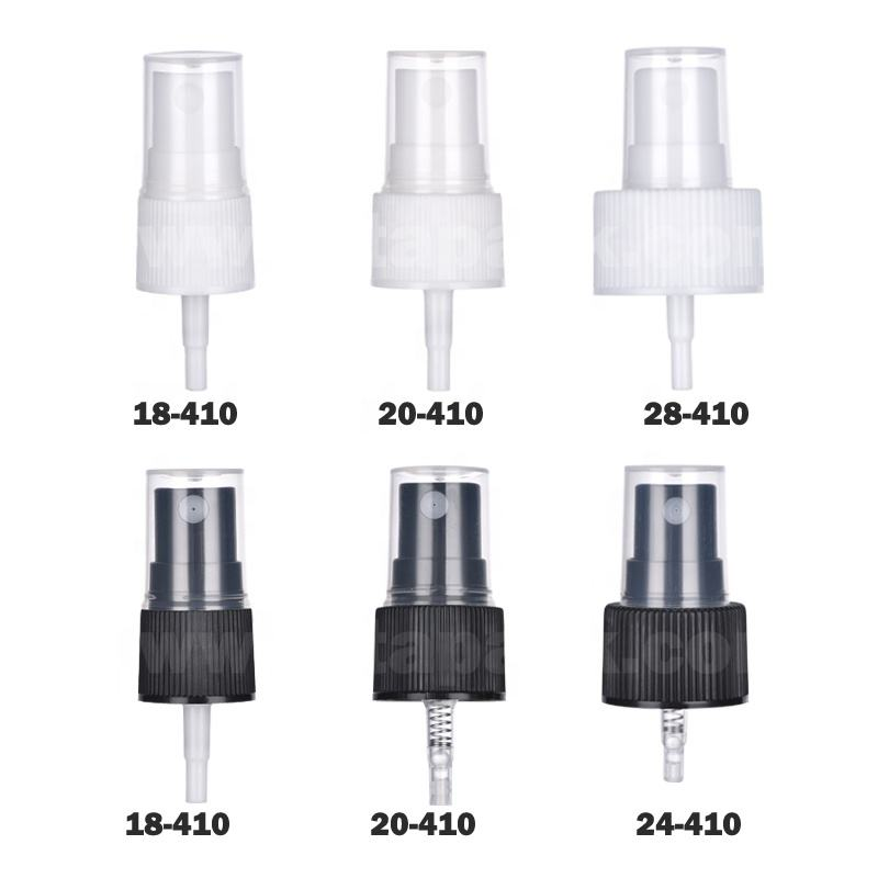 18-410 20-410 24-410 28-410 Black White PP Plastic Ribbed Skirt Fine Mist Sprayer, Pump Sprayer for Hand Sanitizer Spray Bottle