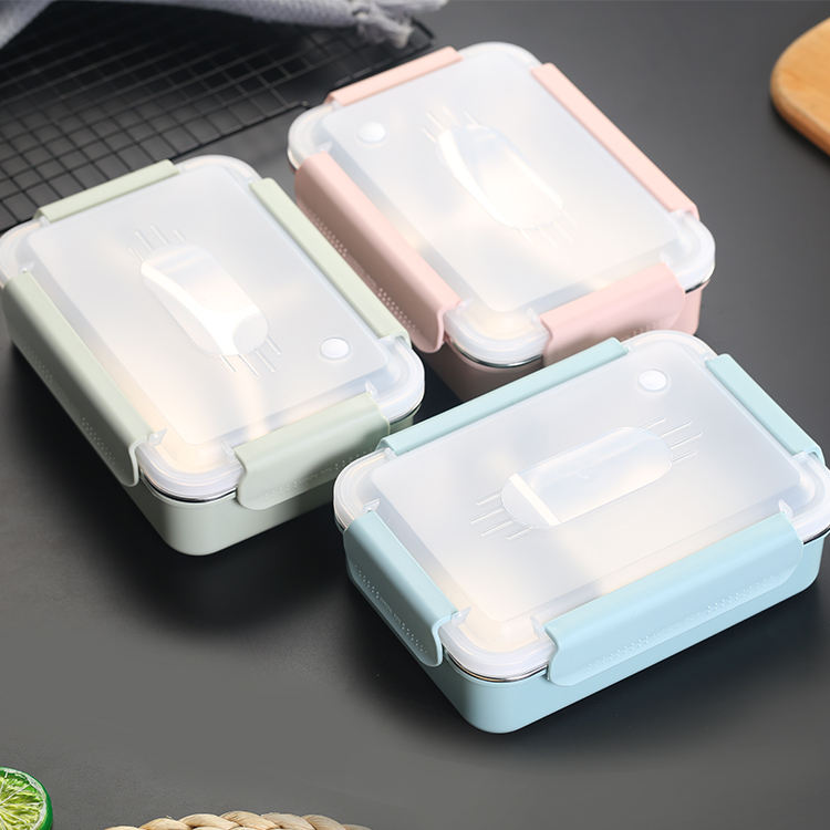 Modern Lunch Box Reusable Korean Plastic Metal Compartment Food Container Leak Proof
