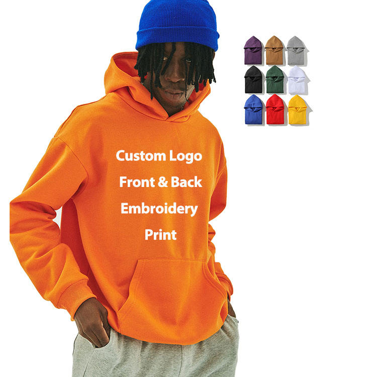 custom unisex design embroidery drawstrings unisex fashion oversized cotton heavy weight plain hoodie