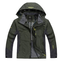 Spring and autumn outdoor hooded casual sports men  jacket Windproof waterproof and plus size  Breathable  clothing